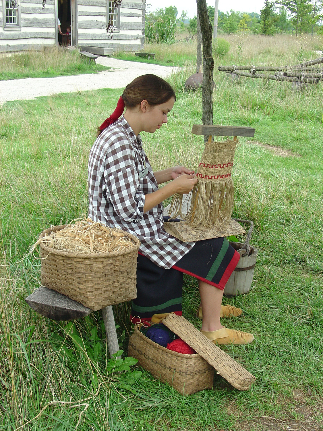 Sauder Village basket weaver girl